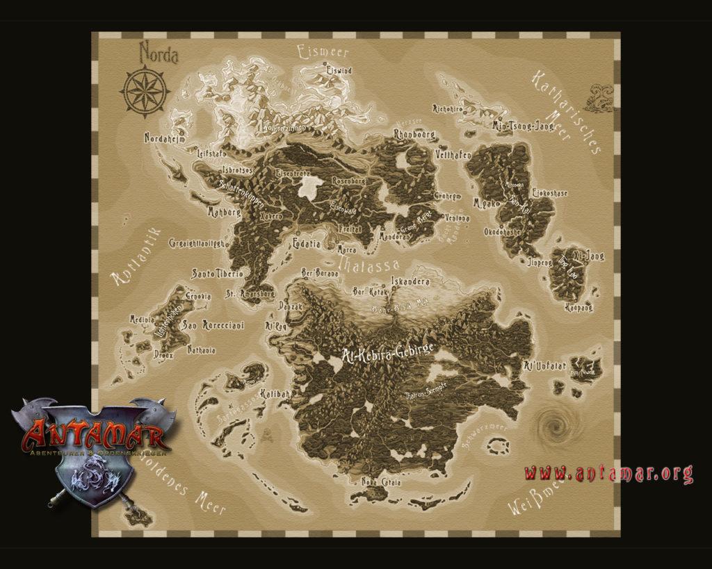 Karte der Welt von Antamar mit Eriath und Anteria.